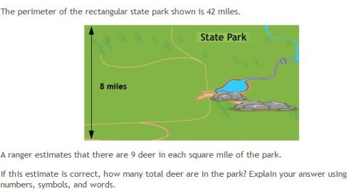 PARCC math item deer